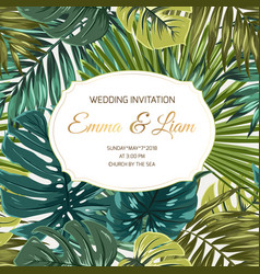 wedding invitation tropical greenery golden text vector image