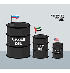 World oil reserves in world barrel oil elements vector