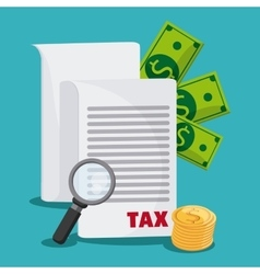 Document and money icon tax and financial item vector