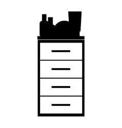 Monochrome silhouette with chest of drawers vector