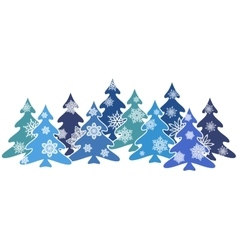 Blue firs decorated with snowflakes vector