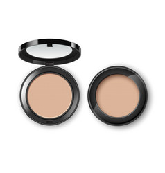 Face makeup powder in black plastic case vector