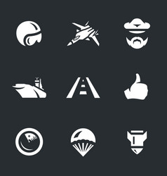set of aircraft carrier icons vector image