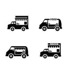 Mobile food car icons vector