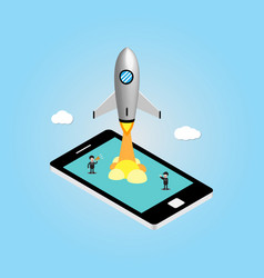 Isometric technology rocket mobile phone with vector