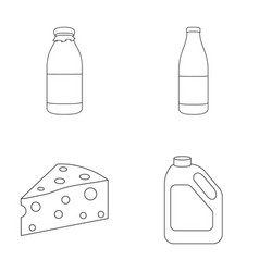 A bottle of kefir a can a piece of cheese vector