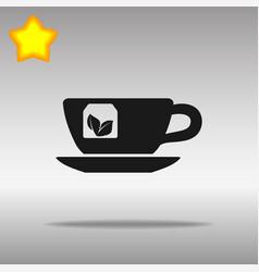 tea cup black icon button logo symbol vector image