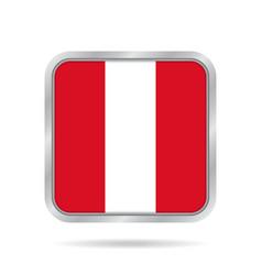 Flag of peru shiny metallic gray square button vector