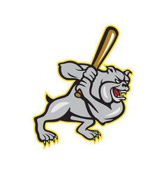 Bulldog dog baseball hitter batting cartoon vector
