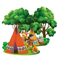 American indians at campsite vector