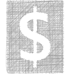 Dollar sign - freehand symbol vector
