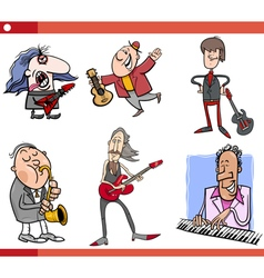 Musicians characters set cartoon vector