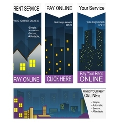 Paying rent on-line banners vector