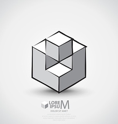 Cube outlined logo vector