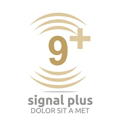 Logo signal number 9 plus brown figure wireless vector
