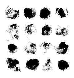 Abstract spots of black ink on white vector