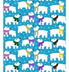 Polar bears on blue background vector