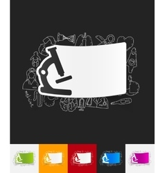 Microscope paper sticker with hand drawn elements vector