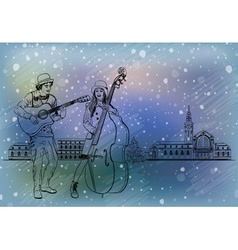 Christmas street performers in a snowy city vector