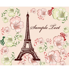Eiffel tower with floral vector