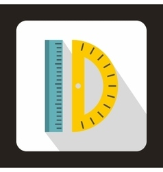 Ruler and protractor icon flat style vector