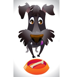 Cartoon dog ready for eat vector image