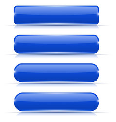 blue glass buttons set of long rectangular web vector image vector image