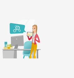 businesswoman presenting report on digital tablet vector image vector image