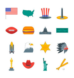 Cartoon symbol of america color icons set vector