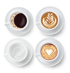 Coffee cups set with latte art vector