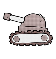 Comic cartoon tank vector