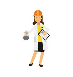 Female chemical engineer character working on oil vector