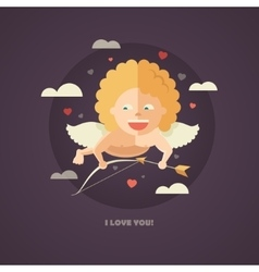 Flat design of Valentines day card vector image