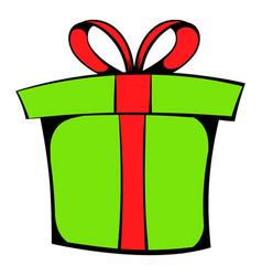 Green gift box icon cartoon vector