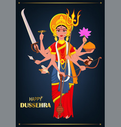 Happy dussehra maa durga on dark blue background vector