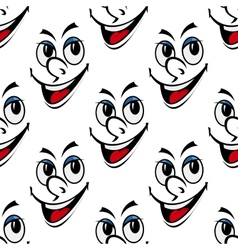 Happy smiling face seamless background pattern vector image