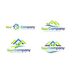 House logo leaf set vector