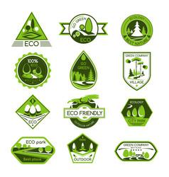 icons set eco nature ecology company vector image