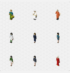 Isometric person set of plumber female pedagogue vector