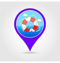 Lifebuoy pin map icon summer vacation vector