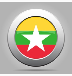 metal button with flag of Myanmar Burma vector image