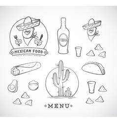 Mexican Food Set with Logo vector image vector image