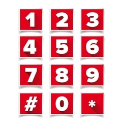Number icon set square red vector image