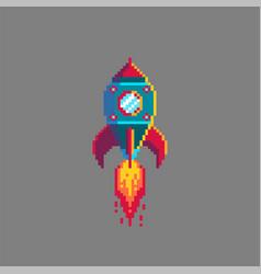 pixel art spaceship rocket launch vector image