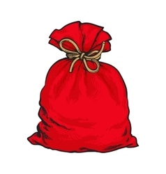 Red Santa Claus bag full of presents vector image