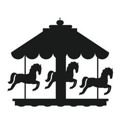 Rotating horses merry-go-round carousel black icon vector