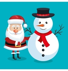 santa claus and snowman with blue background vector image vector image