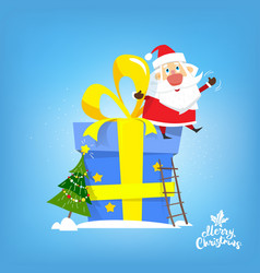 santa claus sit on the big new year gift vector image vector image