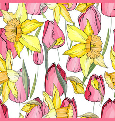 Seamless season pattern with red tulips and yellow vector