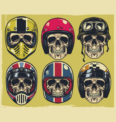 set of hand drawing skulls wearing various of vector image vector image